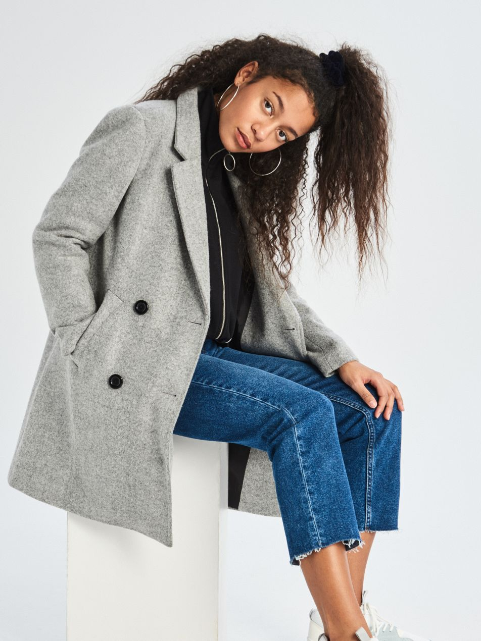 Dvouřadý kabát - světle šedá - UQ760-09M - Sinsay - 1