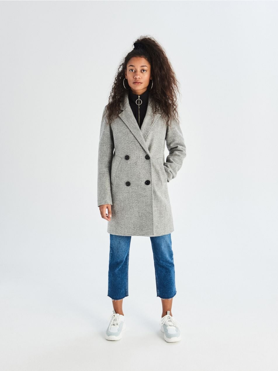 Dvouřadý kabát - světle šedá - UQ760-09M - Sinsay - 2