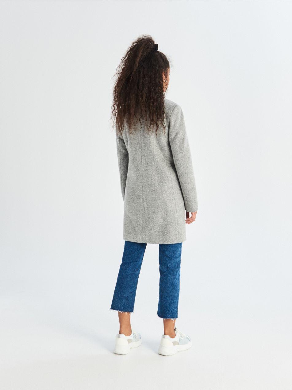 Dvouřadý kabát - světle šedá - UQ760-09M - Sinsay - 4
