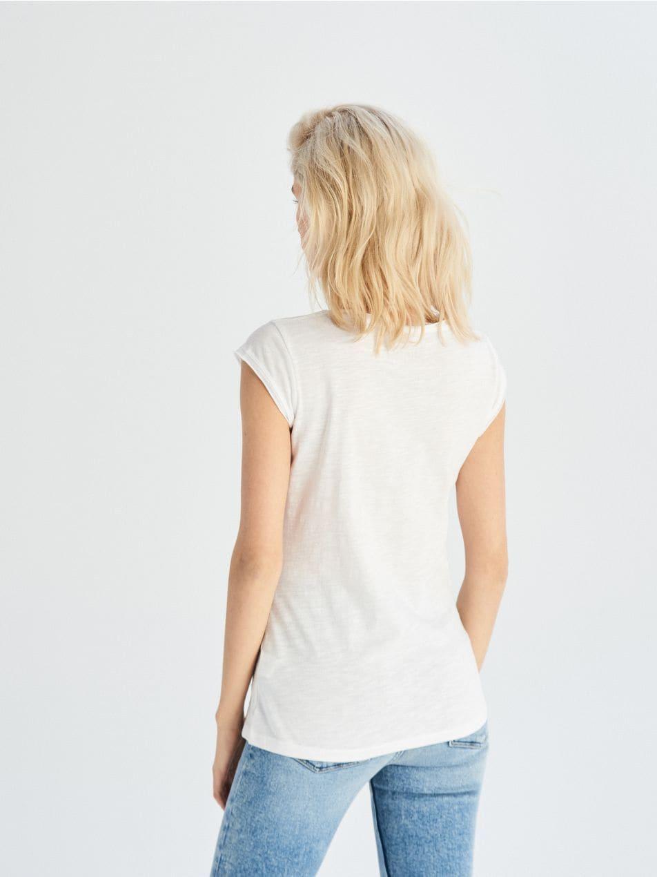 Jednobarevné tričko Basic - bílá - UX661-00X - Sinsay - 3