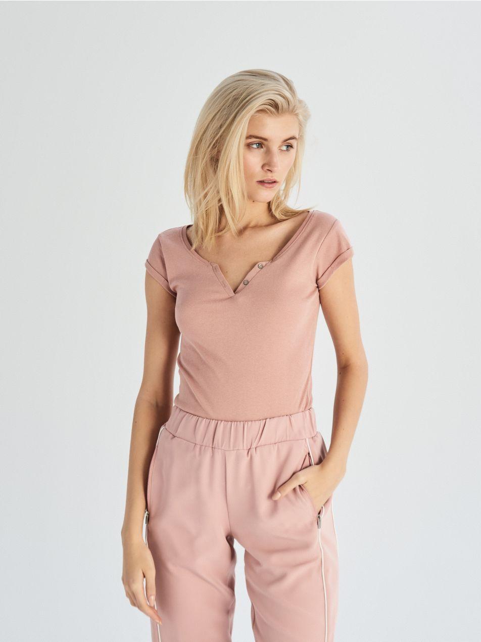 Tričko Basic - růžová - UX663-39X - Sinsay - 2