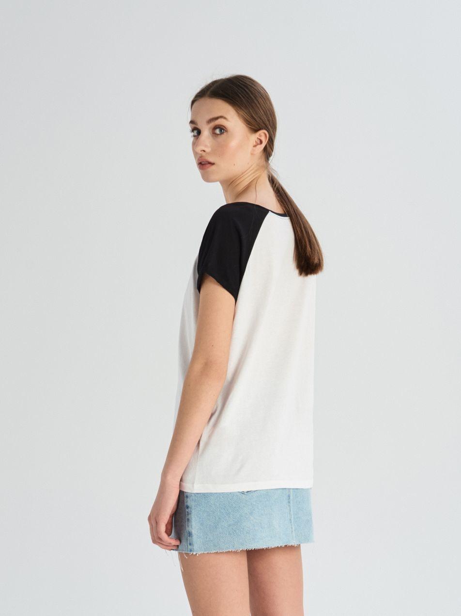 Tričko sraglánovými rukávy - bílá - UX673-00X - Sinsay - 3
