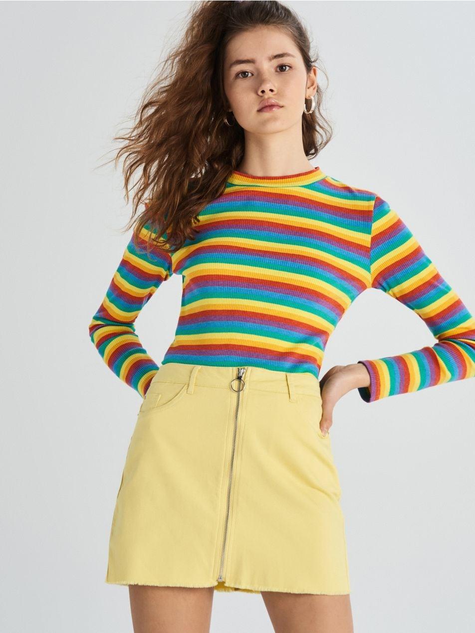 Sukně se zipem - žlutá - VF636-10X - Sinsay - 2