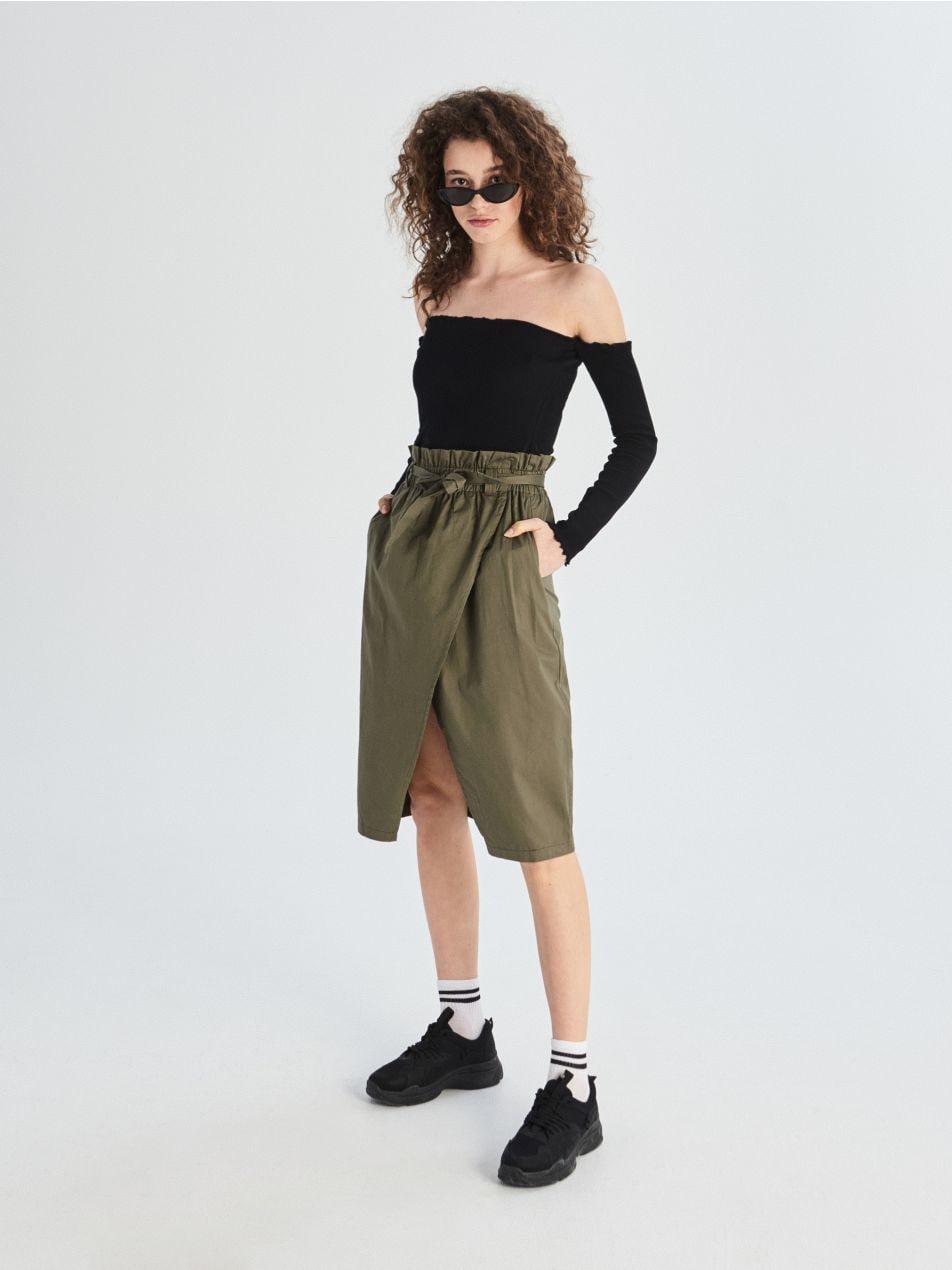 Bavlněná sukně paperbag   - khaki - VF649-87X - Sinsay - 1