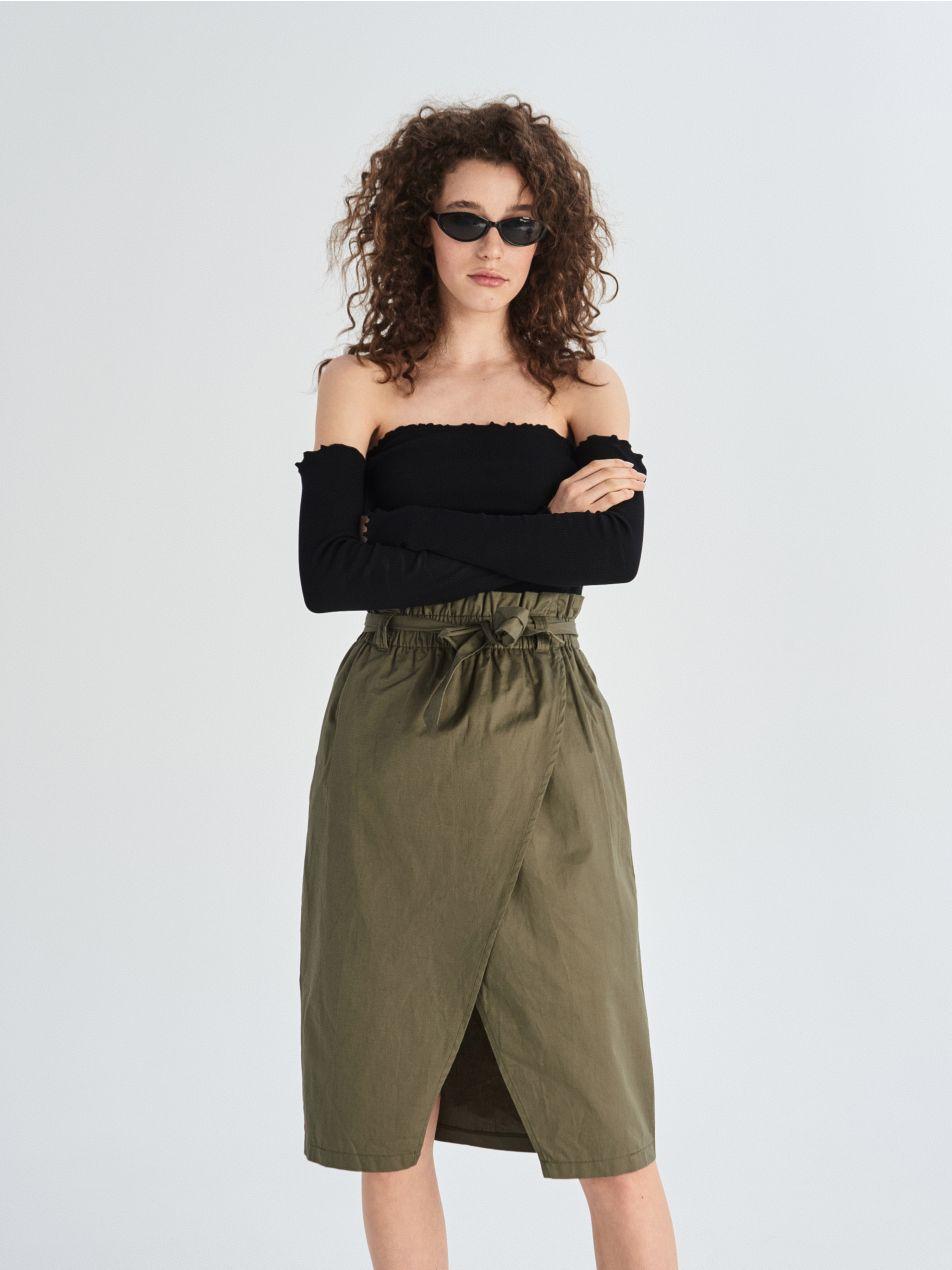Bavlněná sukně paperbag   - khaki - VF649-87X - Sinsay - 2