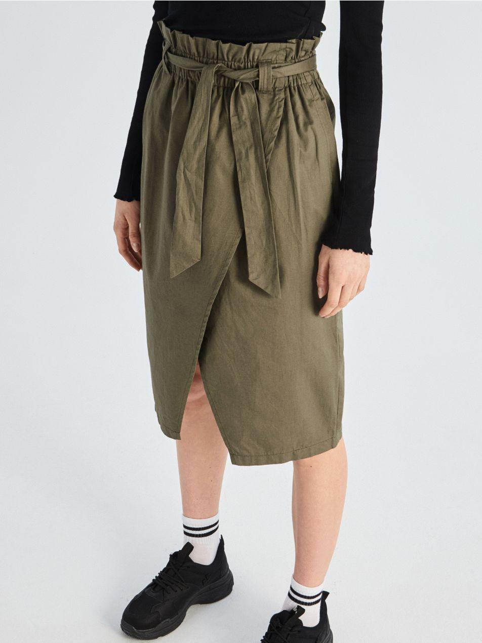 Bavlněná sukně paperbag   - khaki - VF649-87X - Sinsay - 3