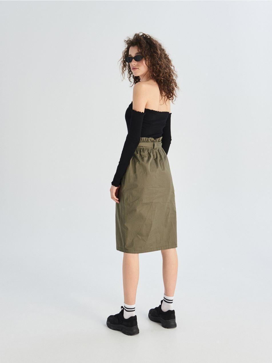 Bavlněná sukně paperbag   - khaki - VF649-87X - Sinsay - 4