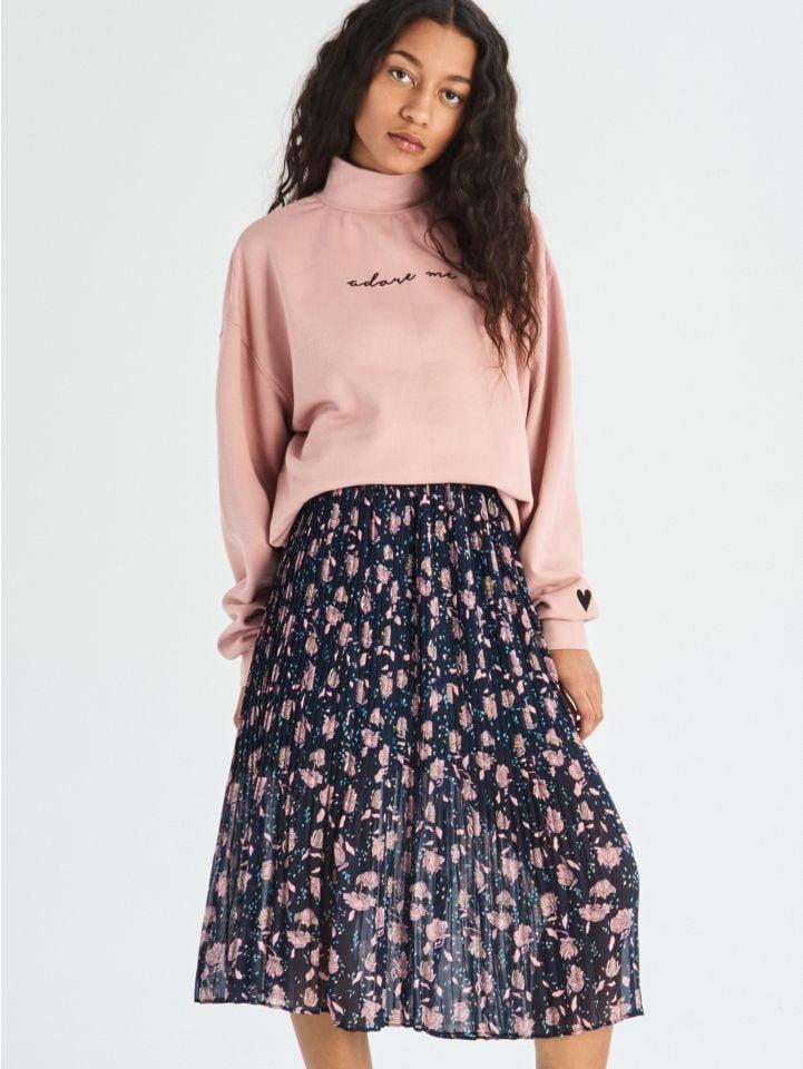 Plisovaná sukně s květinami