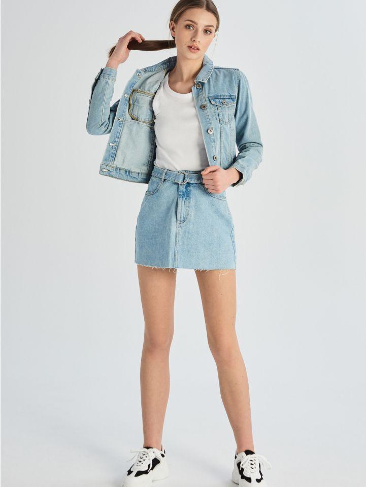 Džínová sukně svysokým pasem