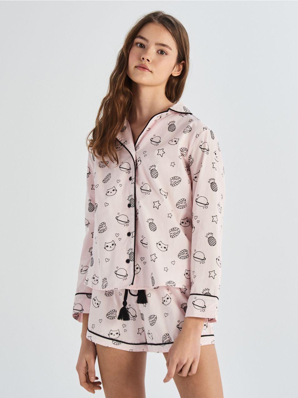 Kétrészes nyomott mintás all over pizsama - rózsaszín - VB210-03X - Sinsay - 1
