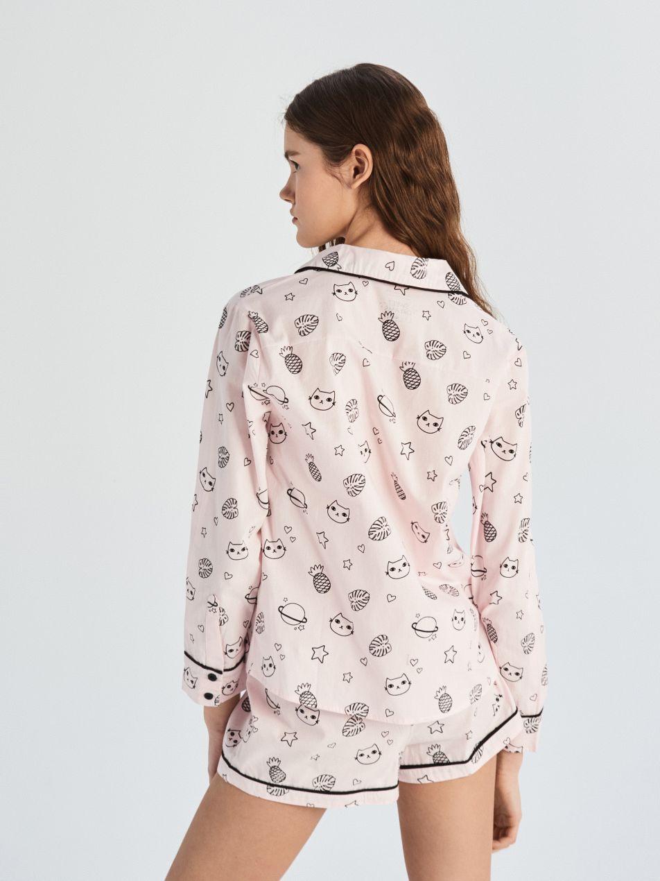 Kétrészes nyomott mintás all over pizsama - rózsaszín - VB210-03X - Sinsay - 4