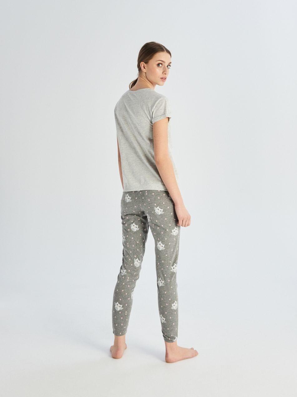Kétrészes baglyos pizsama - világos szürke - VE277-09M - Sinsay - 5