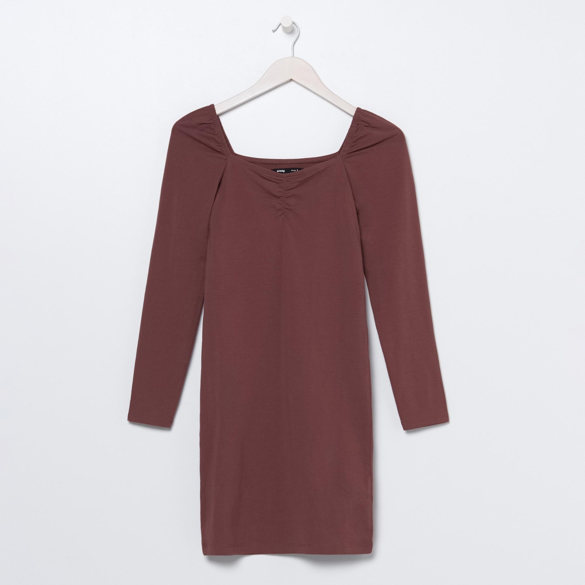 Levně Sinsay - Mini šaty shranatým výstřihem - Červená
