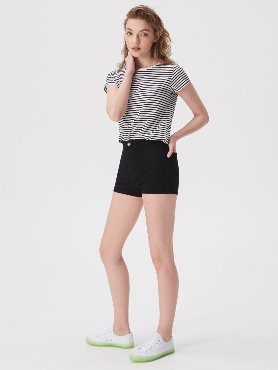 high waisted shorts grey
