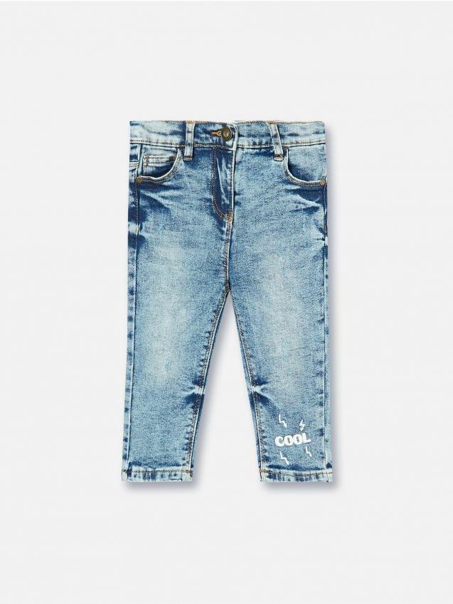 Denimové nohavice s potlačou