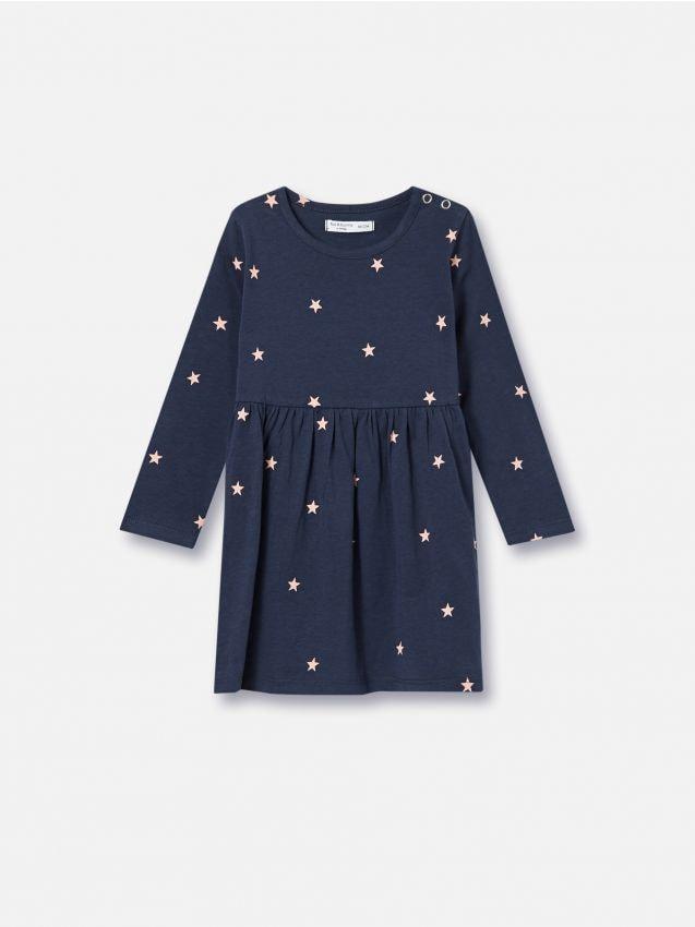 Платье со сплошным принтом из ткани с добавлением хлопка