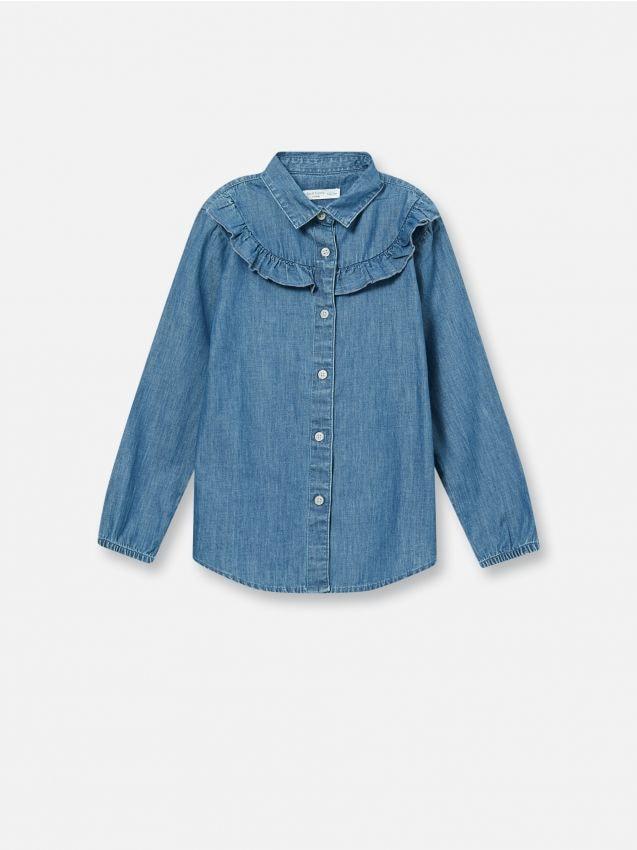 Джинсовая рубашка с оборками