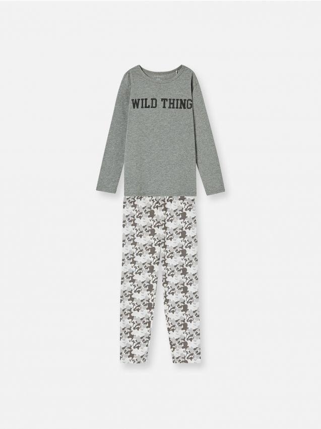 Pijama din două piese cu text