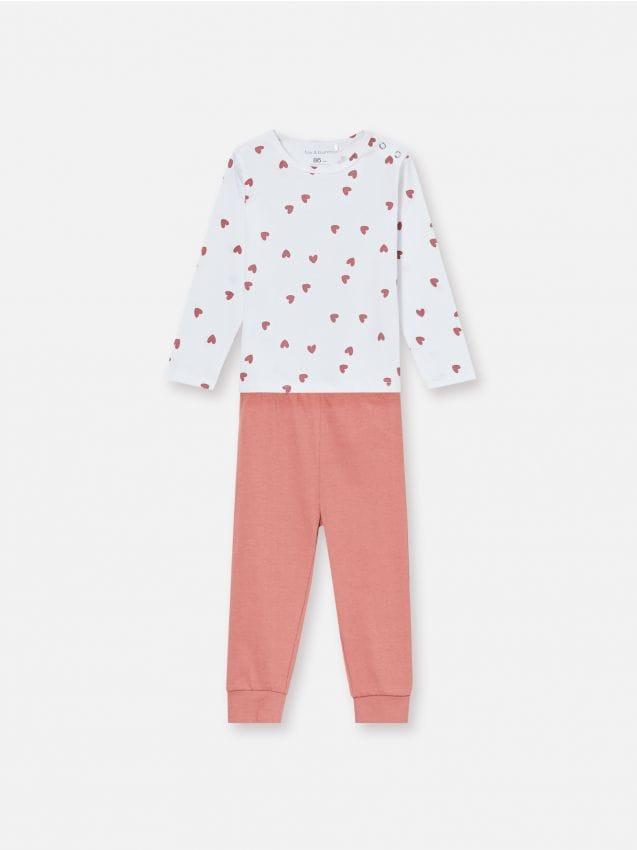 Komplet dvodijelne pidžame s motivom srca