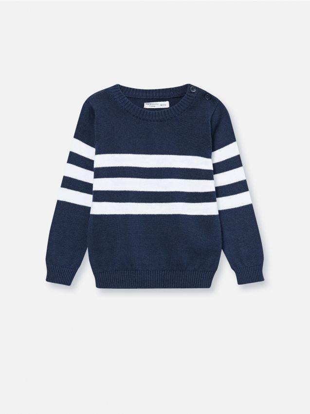 Kokvilnas džemperis ar aizdari plecu daļā