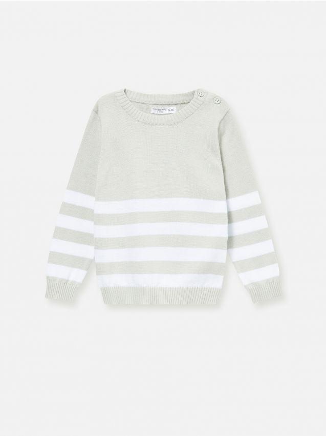 Bavlnený sveter so zapínaním na ramenách