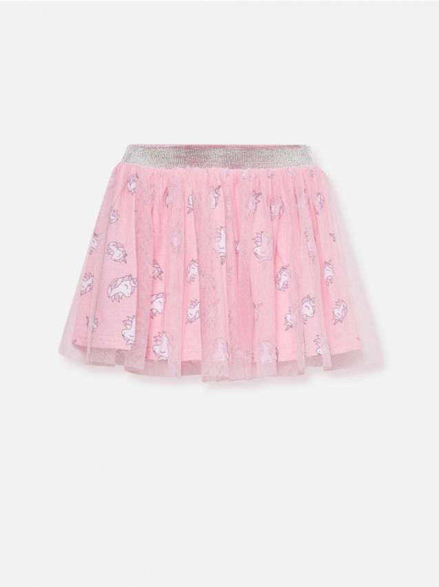 Tylová sukňa s motívom jednorožcov
