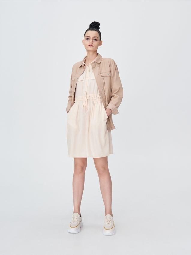 Mini dress with elasticated waist