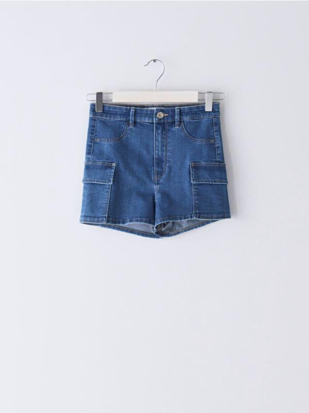 Denim shorts with cargo pockets
