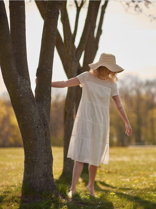 Sukienka midi z ażurowymi wstawkami