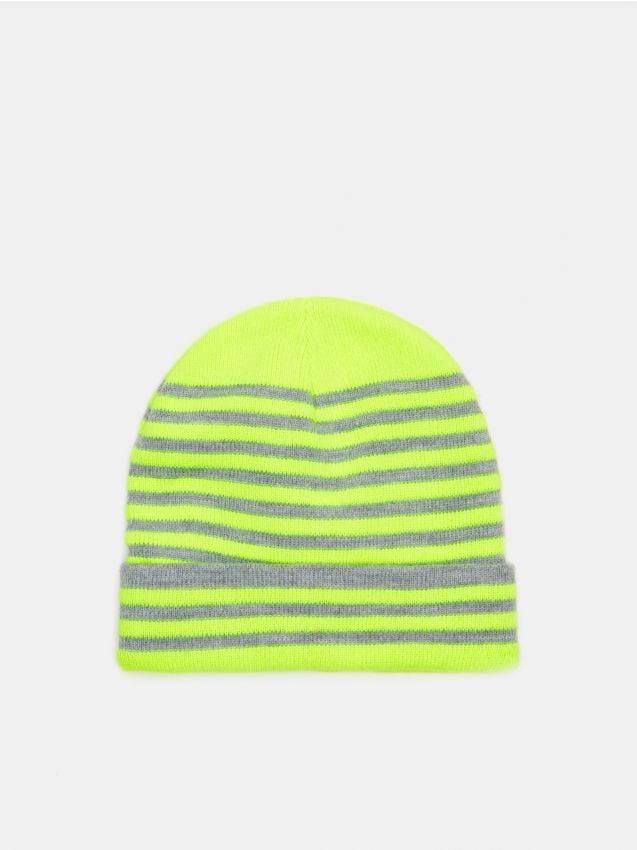 Neonowa czapka w paski