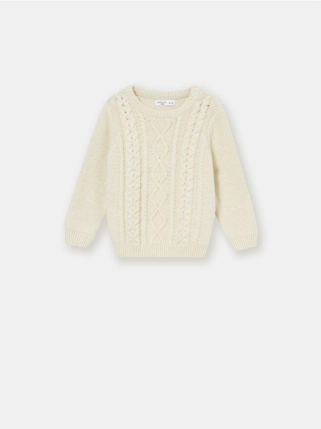 Sweter niemowlęcy z warkoczowym splotem