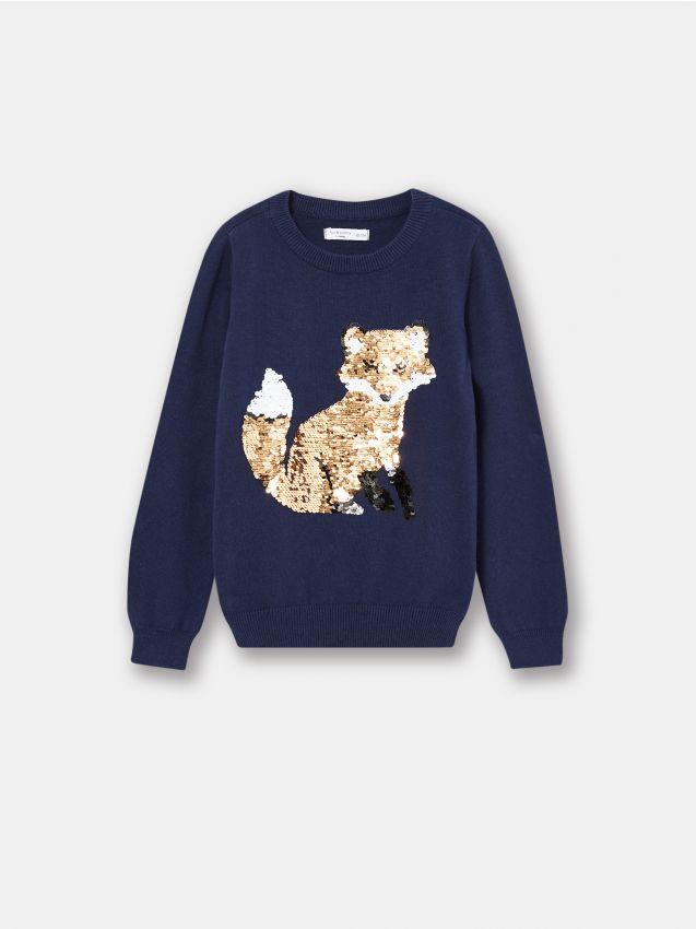 Sweter dziewczęcy z cekinowym wzorem