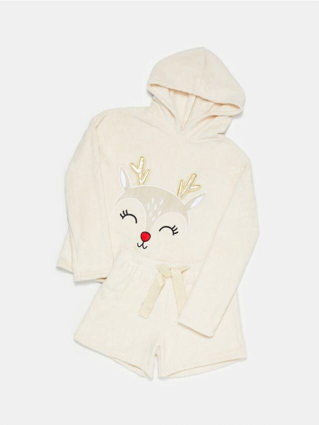 Ciepła piżama dwuczęściowa ze świątecznym motywem