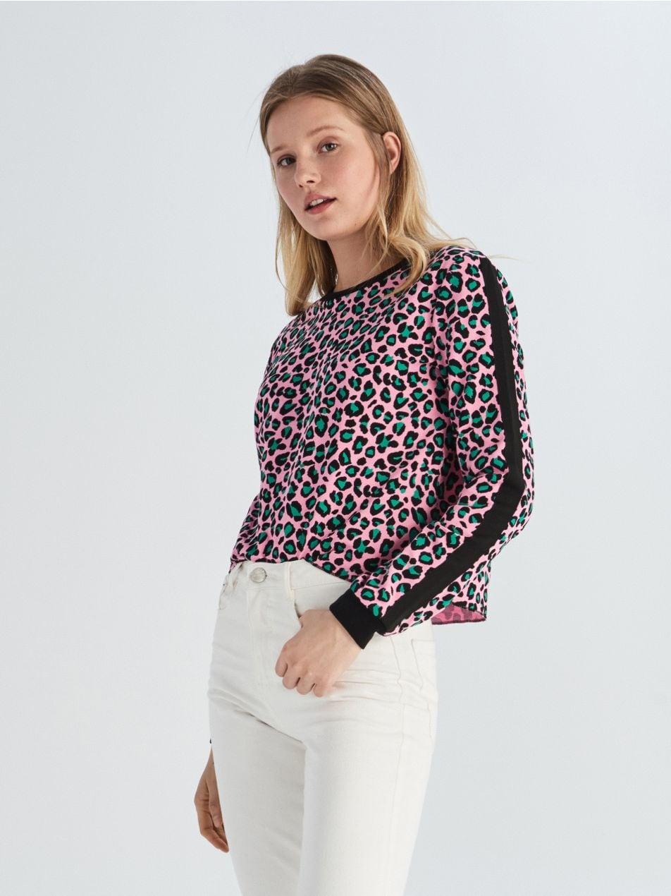 Krótka bluza w lamparcie cętki - wielobarwny - VM801-MLC - Sinsay - 2