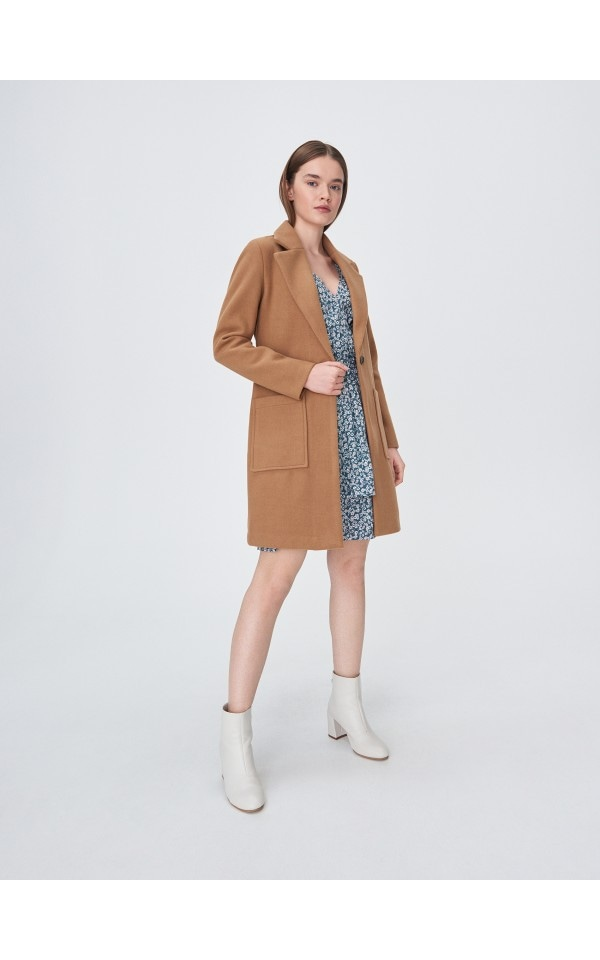Пальто с поясом, SINSAY, YF483-80X