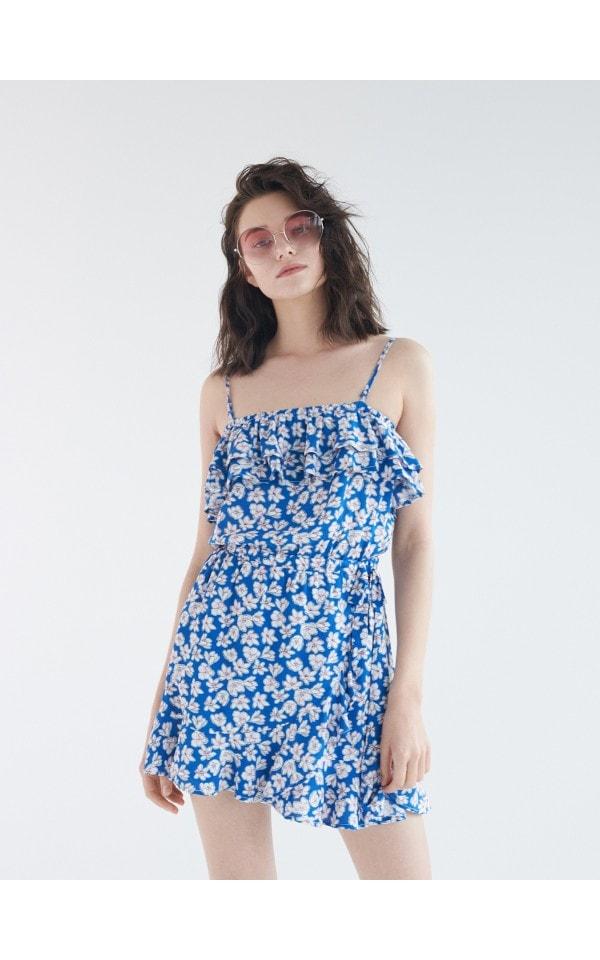 Мини-платье с цветочным принтом, SINSAY, YJ581-MLC
