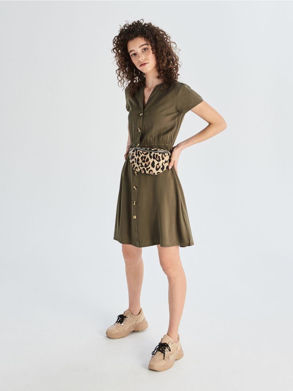 309e96eb061e Zelené šaty s krátkymi rukávmi - khaki - VF672-87X - Sinsay - 5