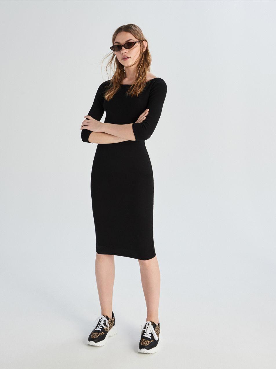 ... Dlhé úpletové šaty - čierna - VF687-99X - Sinsay - 2 ... edb2d1f3a26